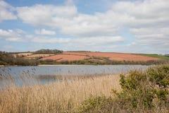 Rote Felder des Eisens von Devon England Stockbilder