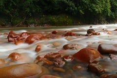 Rote Felsen auf Fluss Lizenzfreie Stockfotos