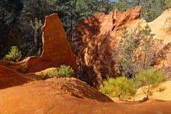 Rote Felsen und kleine grüne Bäume Stockbild