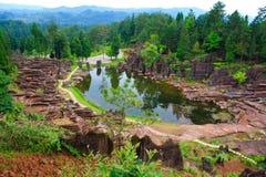 Rote Felsen von Zhangjiajie. Lizenzfreies Stockbild