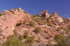 Rote Felsenlandschaft in der Wüste Stockbilder
