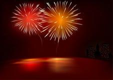 Rote Feuerwerke Stockfotografie