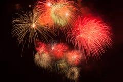 Rote Feuerwerke stockfoto