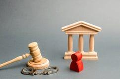 Rote Figürchen eines Mannes am Versuch Schutz des Beklagten in der Strafsache Schutzstrategie Urteilsspruch auf dem Fall lizenzfreie stockfotografie