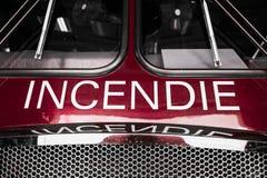 Rote Firetruck-Details der Front mit Benennung Stockbild