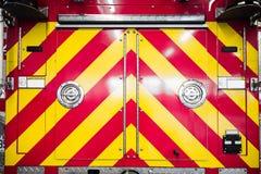 Rote Firetruck-Details des hinteren Musters Stockfoto