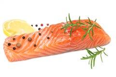 Rote Fische Rohes Lachsfilet mit Rosmarin- und Zitronenisolat auf weißem Hintergrund lizenzfreie stockfotografie