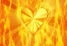 Rote Flammenfeuerbeschaffenheit mit heißem Herzhintergrund Stockfotografie