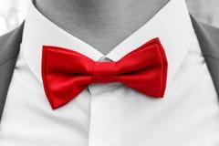 Rote Fliege auf Hals des Mannes, Schwarzweiss-Foto mit farbigem Element Lizenzfreies Stockfoto