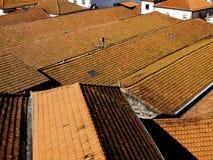 Rote Fliese der Dächer Stockfotos