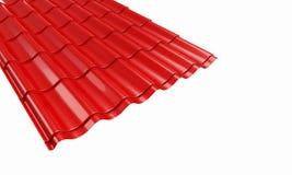 Rote Fliese des Dachs Metall Stockfotos