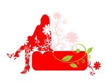 Rote Frau und Feld Stockbilder
