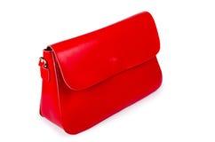 Rote Frauentasche auf Weiß Lizenzfreies Stockbild