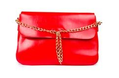 Rote Frauentasche lokalisiert auf Weiß Lizenzfreie Stockfotografie