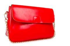 Rote Frauentasche lokalisiert auf Weiß Stockbilder