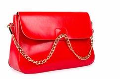 Rote Frauentasche lokalisiert auf Weiß Stockbild