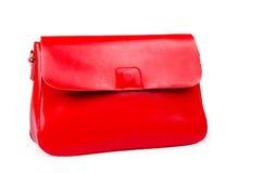 Rote Frauentasche lokalisiert auf Weiß Lizenzfreie Stockbilder