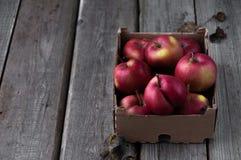 Rote frische Äpfel auf einem hölzernen Hintergrund in einer Pappschachtel lizenzfreie stockfotografie