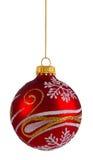 Rote Funkelnweihnachtskugel Stockfoto