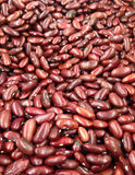 Rote Gartenbohnen Stockfotos