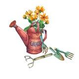 Rote Gartengießkanne der Weinlese mit einem Blumenstrauß von gelben Blumen und von Gartenwerkzeugen Stockfotografie