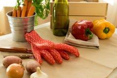 Rote Gartenhandschuhe und -gemüse stockbilder