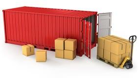 Rote geöffnete Behälter- und Kartonkästen Stockbild