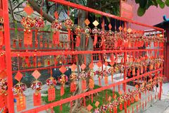 Rote Gebets-Papiere bei A-ma Temple, Macao Stockbilder
