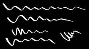 Rote gebogene Wellenlinien gezeichnet mit einer Markierung stock abbildung