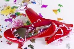 Rote Geburtstags-Schuhe Stockfoto