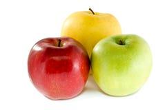 Rote, gelbe und grüne Äpfel Stockbild