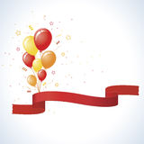 Rote gelbe und orange Party-Ballone mit Fahne Lizenzfreie Stockfotografie