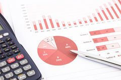 Rote Geschäftsdiagramme, Diagramme, Bericht und Zusammenstellungshintergrund Lizenzfreies Stockbild