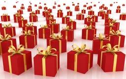 Rote Geschenk-Kästen Stockfotos