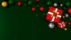 rote Geschenkbox 3d gebunden mit einem weißen Satinbandbogen Stockbild