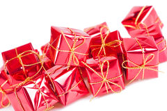 Rote Geschenkbox - Gruppe Gegenstände Lizenzfreie Stockfotos