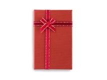 Rote Geschenkbox mit dem ribbin lokalisiert auf weißem Hintergrund Lizenzfreies Stockfoto