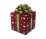 Rote Geschenkbox mit Herzen Stockfotografie