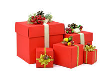 Rote Geschenkkästen Weihnachten Neues Jahr lokalisierung Stockfoto