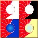 Rote gewellte Linien, Kreisbewegung, abstrakter Hintergrund für Geschäft lizenzfreie abbildung