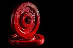 Rote Gewichte Stockfoto