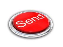 Rote glänzende senden Taste Lizenzfreie Stockfotografie