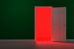 Rote glühende Halle stockbild