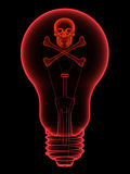 Rote Glühlampe mit dem Schädel und den gekreuzten Knochen Stockbilder