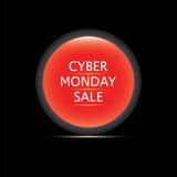 Rote Glasrunde der cyber-Montag-Verkaufsikone lokalisiert auf einem schwarzen Hintergrundvektor Lizenzfreie Stockfotos