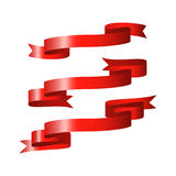 Rote glatte Bandfahnen Stockfoto