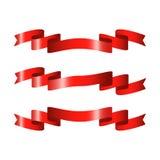 Rote glatte Bandvektorfahnen Lizenzfreies Stockfoto