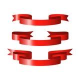 Rote glatte Bandvektorfahnen Lizenzfreies Stockbild