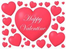 Rote glatte glänzende Herzform lokalisiert auf weißem Hintergrund, Illustration 3D Stockfoto