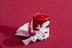 Rote glatte Kerze Stockfoto